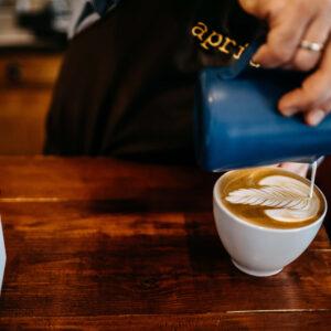 Apricot coffee latte art
